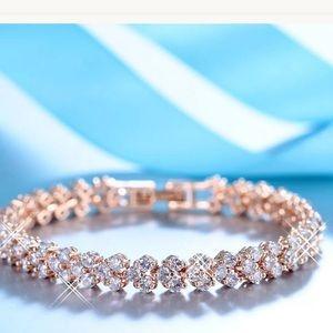 Rose Gold Tennis Bracelet White Topaz Stone